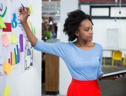 Female graphic designer giving presentation in creative office