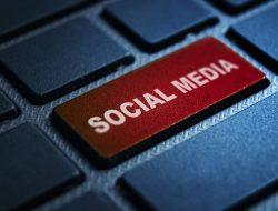 Social Media keyword concept on computer keyboard technology background macro shot